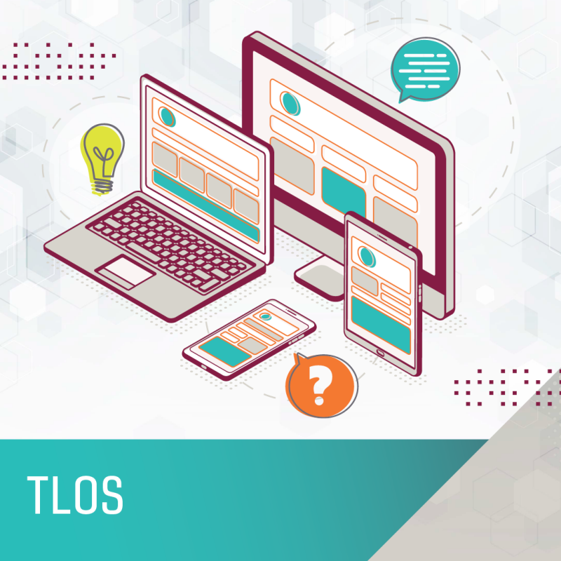 Images of laptops and computers representing TLOS - search courses.